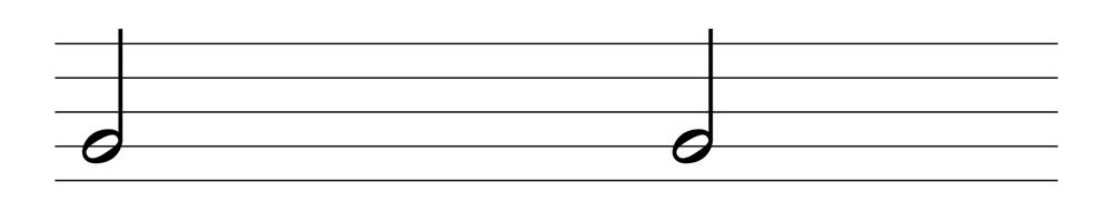 五線譜二分音符表示法