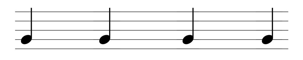 五線譜四分音符表示法