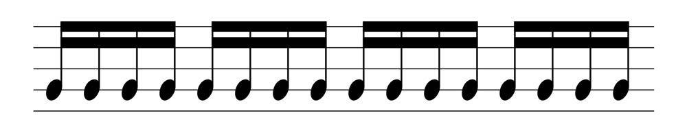 五線譜十六音符表示法