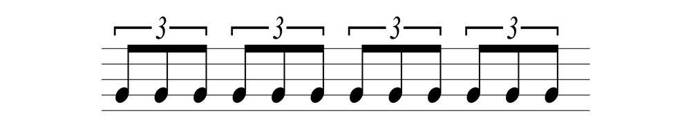 五線譜三連音音符表示法