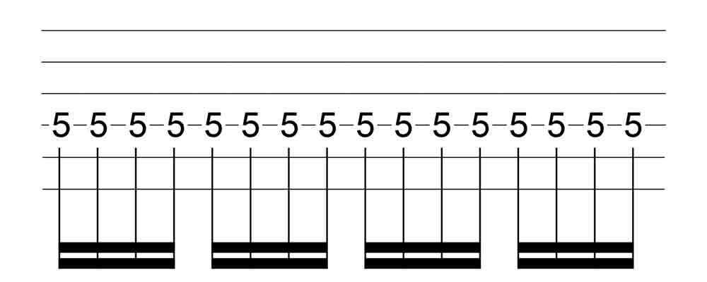 六線譜十六分音符表示法