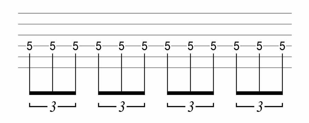 六線譜三連音表示法
