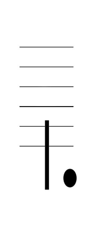 六線譜附點二分音符