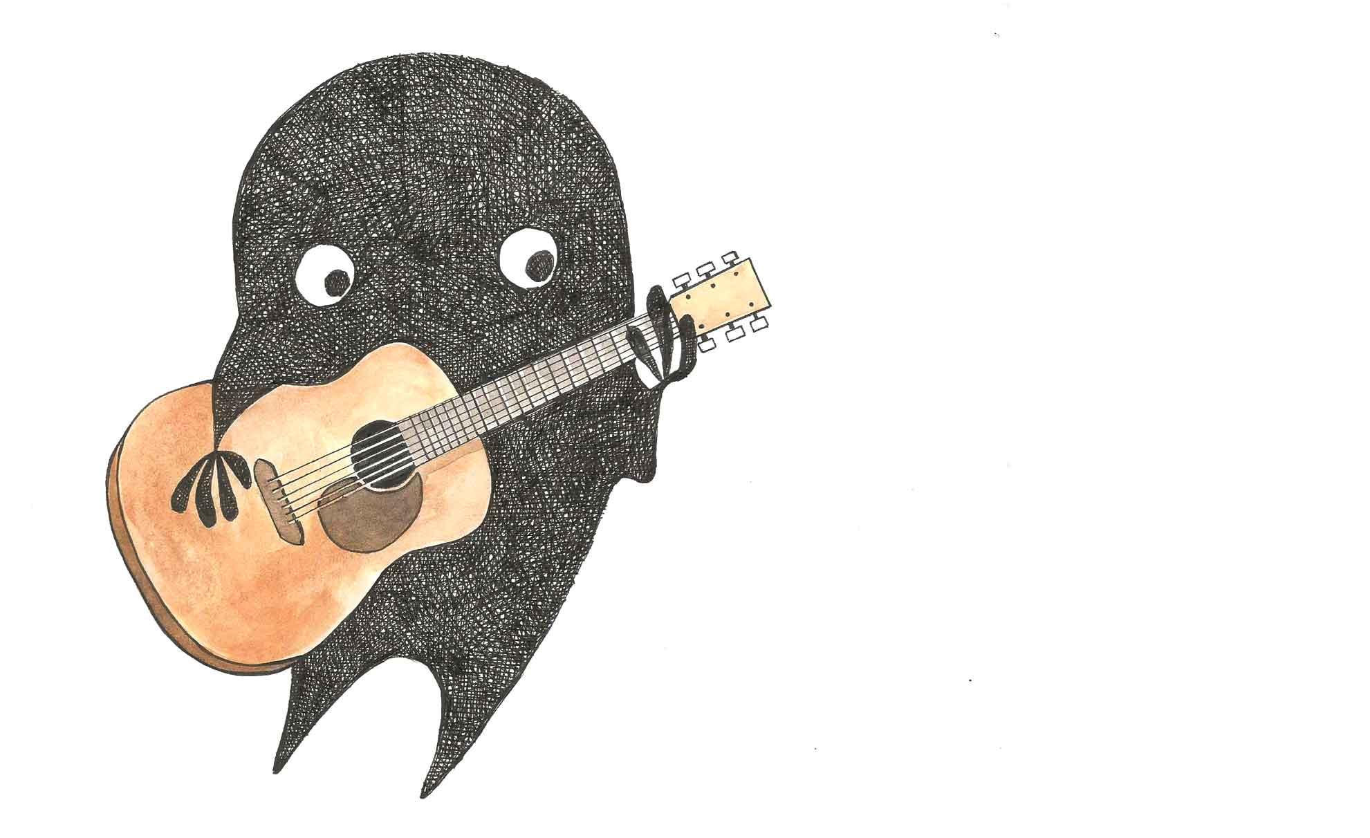 香菸先生繪 拿著吉他的小黑人