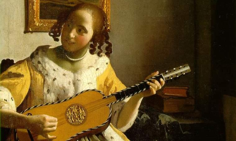 文藝復興時期的少女彈著吉他