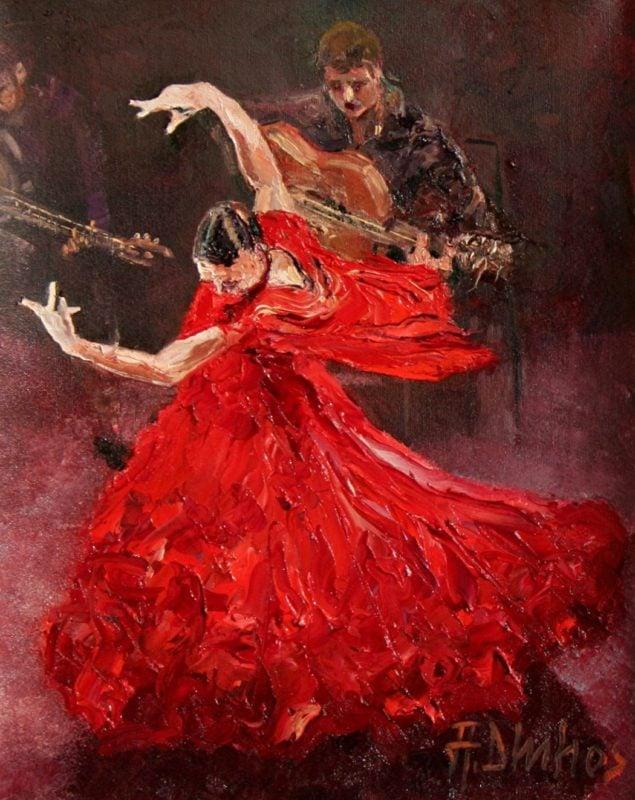 佛朗明哥女孩跳著舞蹈