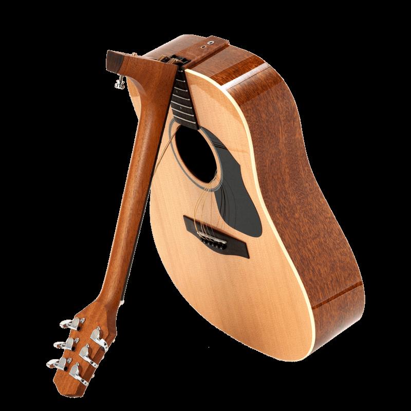Voyage-air Guitar 折疊式旅行吉他可將琴頸往前扭轉放進專用的琴袋