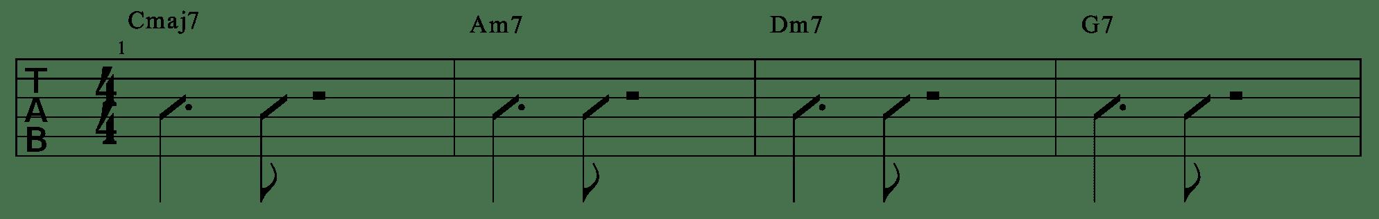 爵士吉他練習 範例四 比起上個練習多了更多的節奏變化