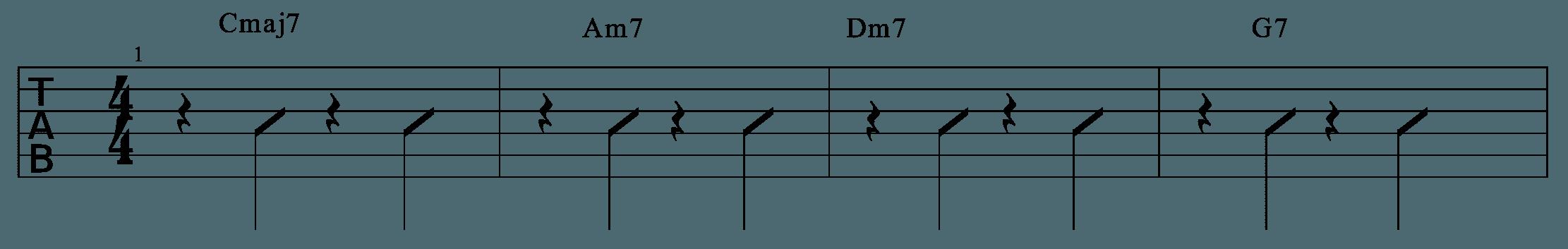 每一拍都先經由一個四分休止符開始